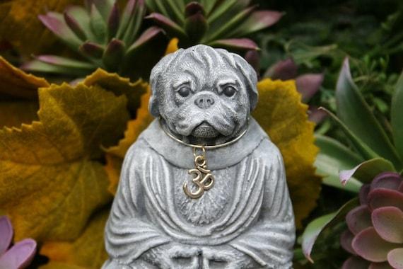 Dog Buddha   Meditating Pug Statue   Zen Master   Yoga Dog   Concrete Garden  Statue