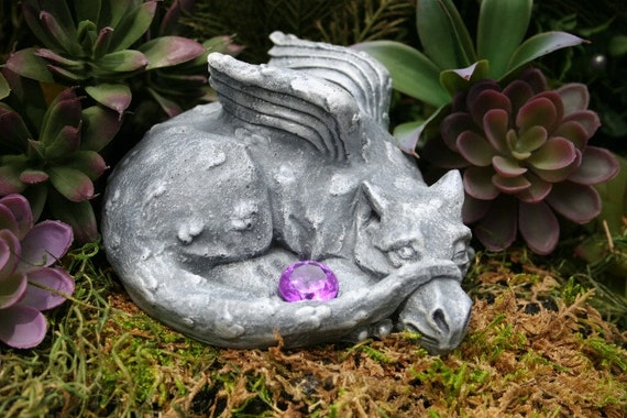 Concrete Dragon Statue  - Shy Baby Dragon Peeks Out From Behind His Tail - Concrete Dragon Art