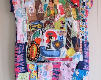 PATCHWORK COUTURE COLLAGE Clothing -  Wearable Fabric Folk Art Applique Dress - Plus Size +  mybonny