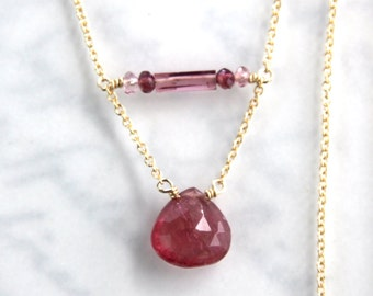 Pink Tourmaline Necklace - Gold Filled