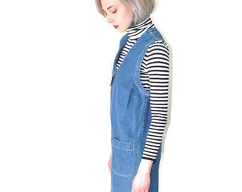 90s GRUNGE denim dress early 1990s vintage MINIMALIST zip up overall blue jean CHAMBRAY jumper small