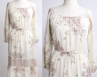 Vintage 1970s Floral Cotton Dress | Belted Peasant Dress | Floral Cotton Dress | XXS to XS