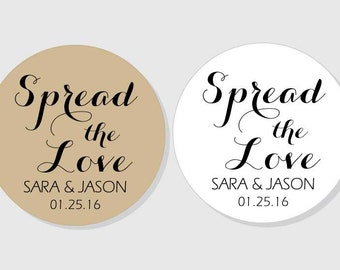 Spread the Love Personalized Wedding Stickers - kraft & white matte - assorted sizes - 1.5 inch - 2 inch - 2.5 inch - 3 inch - Bridal Shower
