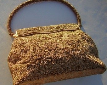 Bronze Beaded HandBag Purse Evening Bag - Exquisite Vintage Handwork  & Incredible Rich Texture