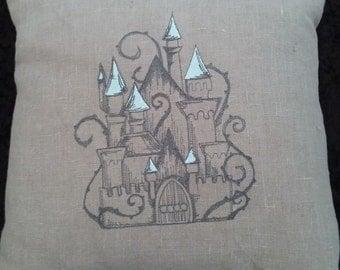 Fairy Tale Pillow  Sleeping Beauty's Castle   Linen Accent Pillow