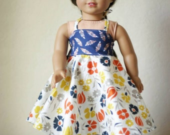 """18"""" Doll Halter Twirl Dress, Feathers and Floral"""