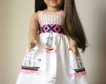 "18"" Doll Halter Twirl Dress, Nautical"