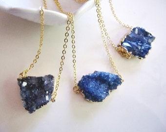 Sapphire Druzy Pendant, Quartz Necklace, Freeform Blue Druzy, Gold Edged Druzy, Bohemian Necklace, Quartz Pendant, Gardendiva