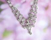 Vintage Crystal Necklace - Clear Brilliant Crystals in Silver - Elegant Wedding Necklace