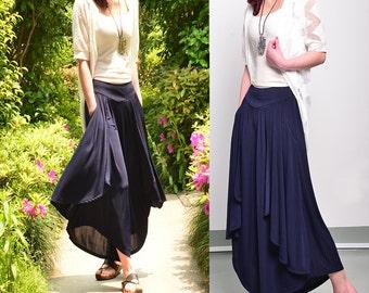 Moon Water - pleated skirt pants / wide leg pants / layering pants (K1661)