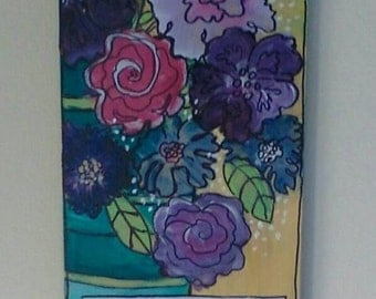 I must have flowers always and always, original acrylic painting. 20 x 5 1/2 inch. Purple red flowers,