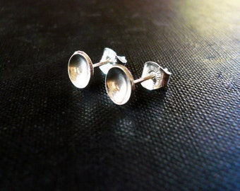 Tiny Reflecting Pool Earrings - Dainty Sterling Silver Post Earrings, Tiny Dot Circle Earrings