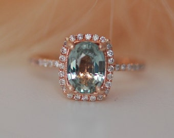 Rose Gold Engagement Ring Mint green Sapphire Ring 1.57ct cushion 14k rose gold diamond ring. Engagement rings by Eidelprecious.