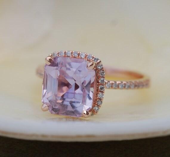 lavender Peach Sapphire Ring. Rose Gold Engagement Ring. 2.15ct Square Cushion Peach sapphire ring. Engagement rings by Eidelprecious