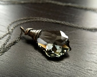 Crystal Necklace, Black, Grey, Swarovski Baroque, Oxidized Sterling Silver, Gift for sister, mom, aunt, girlfriend, wife