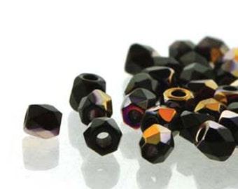 Jet Sliperit 2mm True Fire Polish Czech Glass Crystal Beads 4 grams