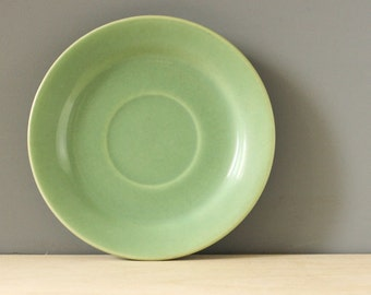 Green vintage Bauer saucer.  California Pottery.