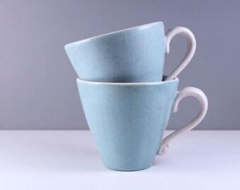 Metlox Poppytrail Del Rey pair of cups. California mid century modern design.