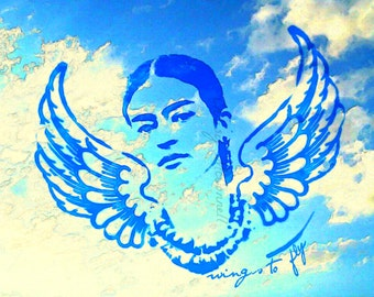Frida Kahlo Quote Wings to Fly Instant Digital Download Painting Style Print Photomontage Home Decor Small to Poster Bird Surreal Clouds Sky