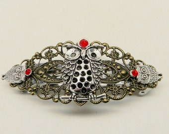 Steampunk hair barrette.Steampunk owl barrette. Steampunk jewelry.
