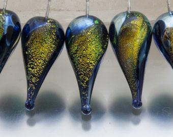 Lampwork headpins: Carnival teardrop in cyan/copper on sterling silver wire - by Jennie Yip