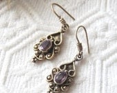 Vintage Southwestern Artisan Crafted Sterling Silver Amethyst Dangle Earrings