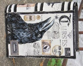 MEDIUM Vintage Paper Mache Halloween Witch's Book of CURSES  Box Hand Painted Crow Raven
