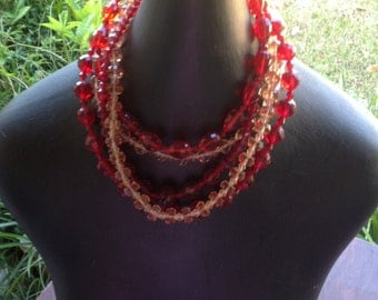Vintage  Red Glass 5 Strands Bohemian Clunky Faceted Beads Red Pink Multi Shapes