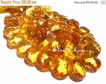 55% OFF SALE Set of 15 Pieces - Flawless, Sparkling and Lustrous Yellow Corundum Quartz Faceted Pear Shaped Briolettes Size 14x10 - 12x8mm