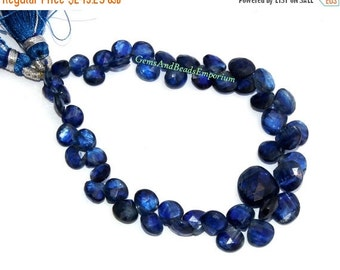 55% OFF SALE 7 Inches - Rare Finest Quality Natural Deep Inky Blue Kyanite Faceted Heart Briolettes Size 5 - 8mm - Gemstone Briolette 03