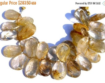 50% Off Valentine day Buy Wholesale Lot 1/2 Strand 381 Ctw Huge 25x18 - 32x20mm Finest Golden Rutilated Quartz Faceted Pear Briolettes W/ 15