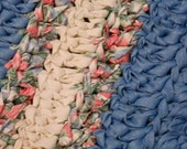 Light blue and floral rectangle rag rug, handmade, washable