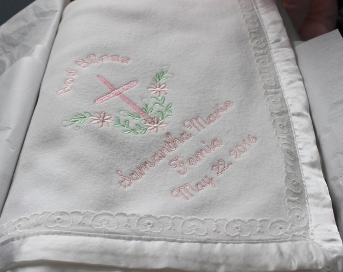 Personalized Heirloom Baby Blanket with Eyelet Lace Trim