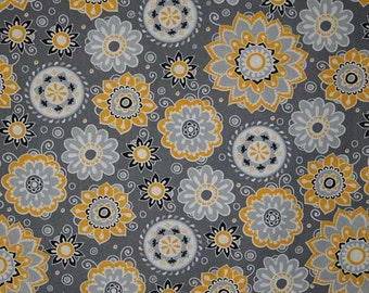 Floral Fabric By the Yard, Quarter Yard, Fat Quarter Yellow and Gray Fabric with Flowers Suzani Floral Fabric Cotton Quilting Fabric a4/29