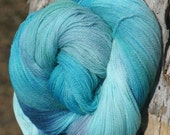 Handpainted, Kettled dyed Lace weight yarn - Sea Glass - 100 percent Superwash Merino  - 4 ounces