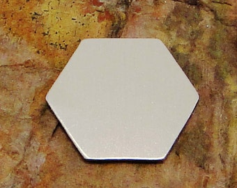 """10 Deburred 1 1/4"""" HEXAGON *Choose Your Metal* Aluminum Brass Bronze Copper Nickel Stamping Blank Finished Enameling Geometric Honeycomb Bee"""