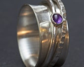 Sterling Silver Ring, Spinner Ring, Sterling Spinner Ring, Rings with Stones, Silver Ring, Silver Rings for Women, Wide Band Ring, Amethyst