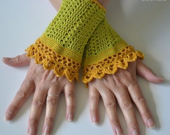 Lace crochet wristies, wristlets, cotton, P486