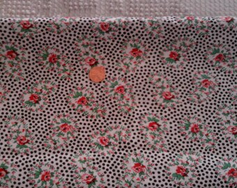 Vintage Cotton  Quilt Fabric  Pink Roses Black Dots on White