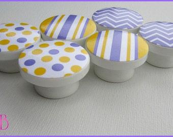 Chevron Knobs • Stripe Dresser Knobs • Lavender and Yellow • Drawer Pulls • Chevron • Stripes • Polka Dots • Kids Knobs