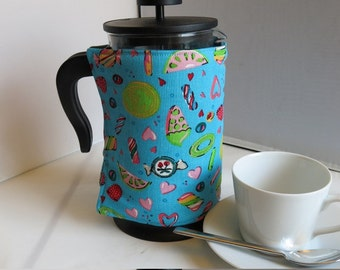 Cafetiere (french press) cosy in cute sweetie print