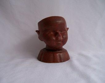 Red Ceramic Baby Head