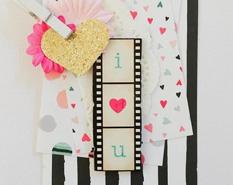 I love You Wedding, Romantic, Large Gift Tag, Love Hearts, Fun, Gold Glitter Paper