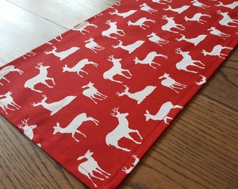 Christmas Red Deer Table Runner - Ready to be shipped! - 53.75 x 10.5  inches