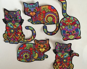 Psychedelic Kitty Cats - Iron On Fabric Appliqués - hippie
