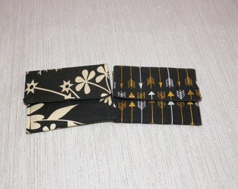 Ivory Botanical and Gold and White Arrows on Black Teeny Pocket Set of Two