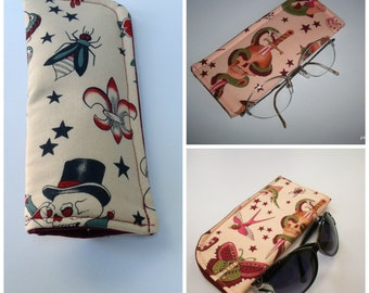For the Love of Tatoo Art Tan Eyeglass Case or Pink Sunglass or Eyeglass Case Your choice of One