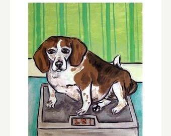 ON SALE Beagle on a Diet Dog Art Print