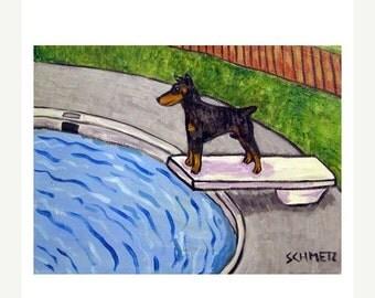 ON SALE Doberman Pinscher at the Pool Dog Art Print