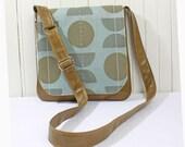 Olive Green Leather Cross Body Messenger Bag